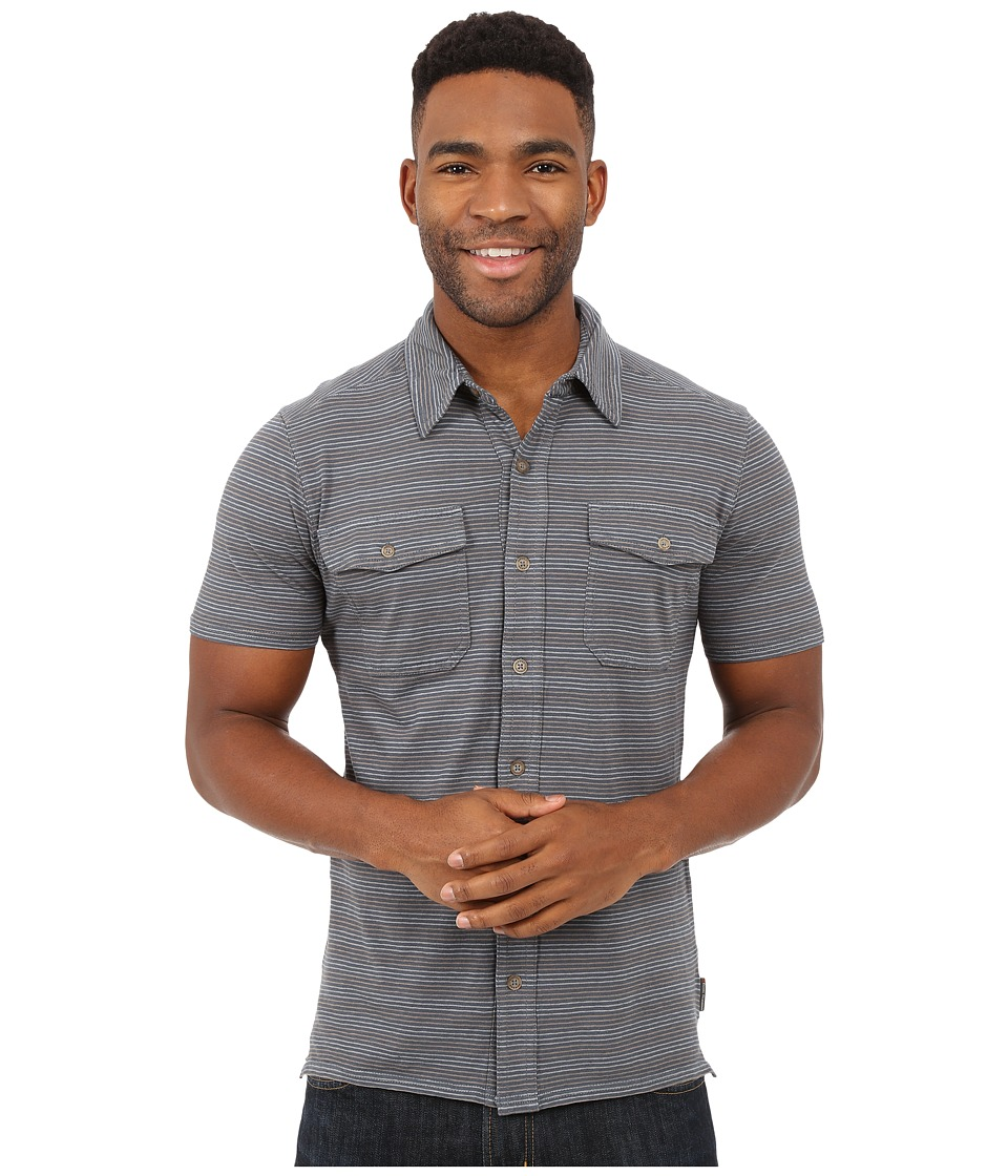 Royal Robbins - Breeze Thru Stripe Button Front Shirt (Slate) Men's Short Sleeve Button Up