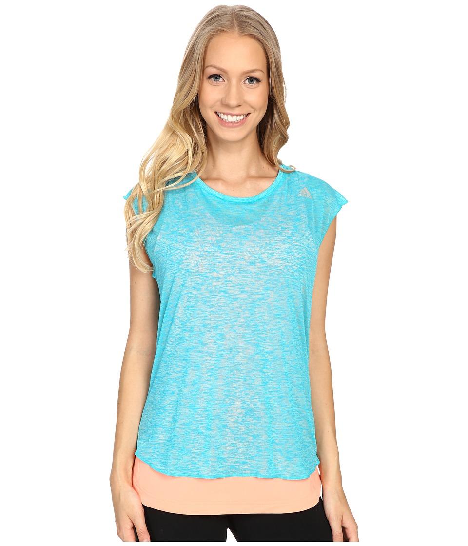 adidas - Kanoi Run Short Sleeve Layer Tee (Shock Green/Sun Glow) Women's T Shirt