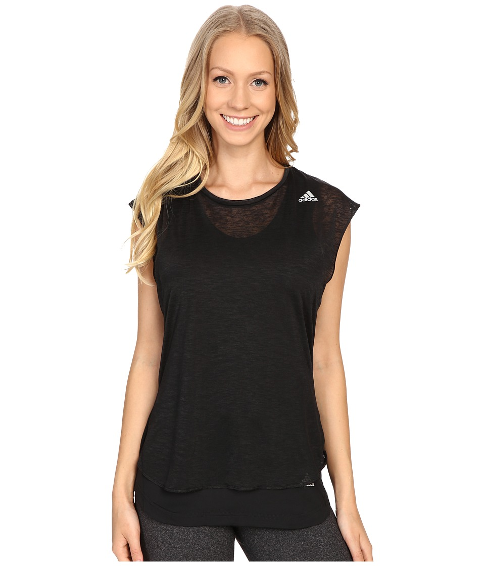 adidas - Kanoi Run Short Sleeve Layer Tee (Black/Black) Women's T Shirt