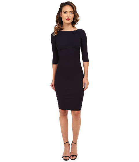 Stop Staring! - Elegant Neck Detail Dress (Navy) Women's Dress