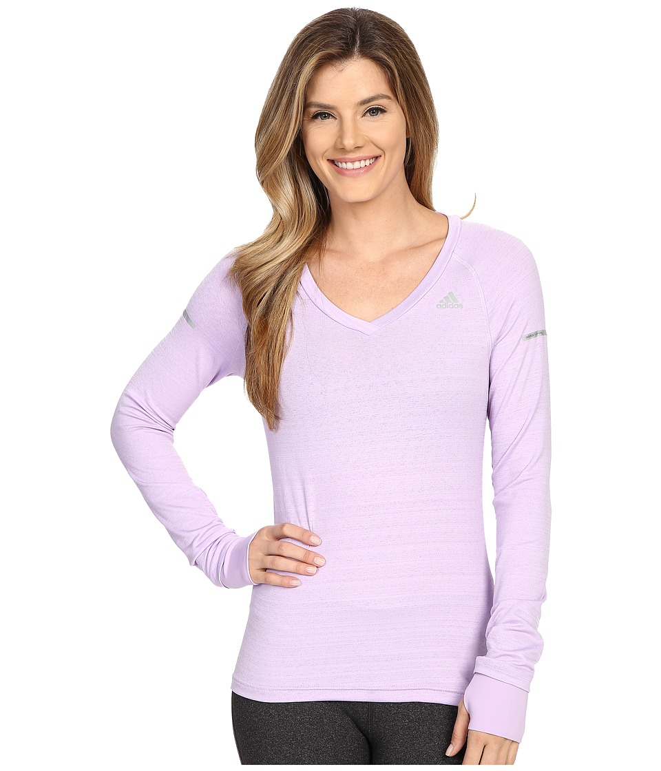 adidas - Sequencials Heathered Long Sleeve Tee (Purple Glow) Women's Workout