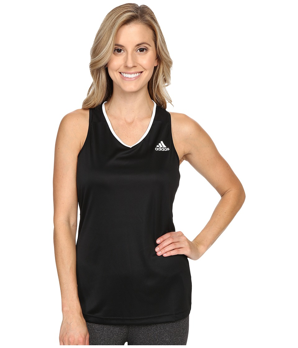 adidas - Club Tank Top (Black/White) Women's Sleeveless