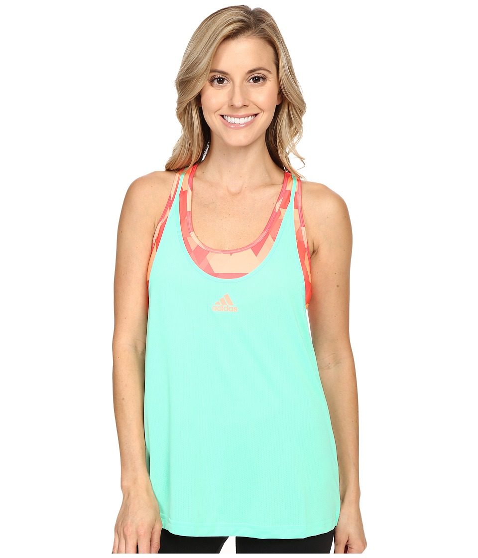 adidas - Club Trend Tank Top (Green Glow/Sun Glow) Women's Sleeveless