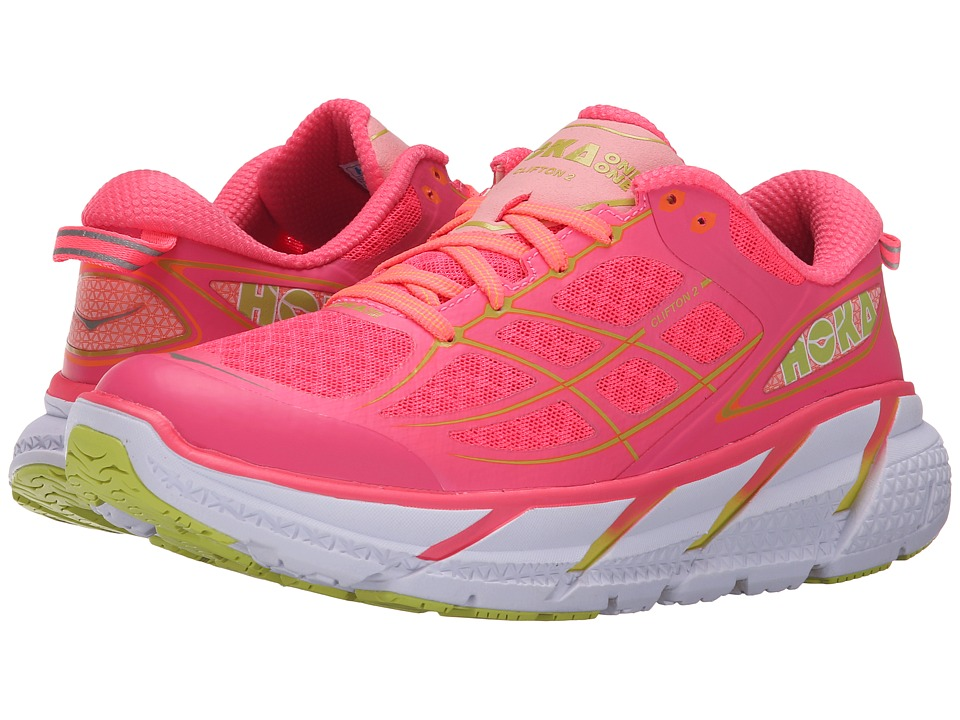 Hoka One One - Clifton 2 (Neon Pink/Acid) Women's Running Shoes