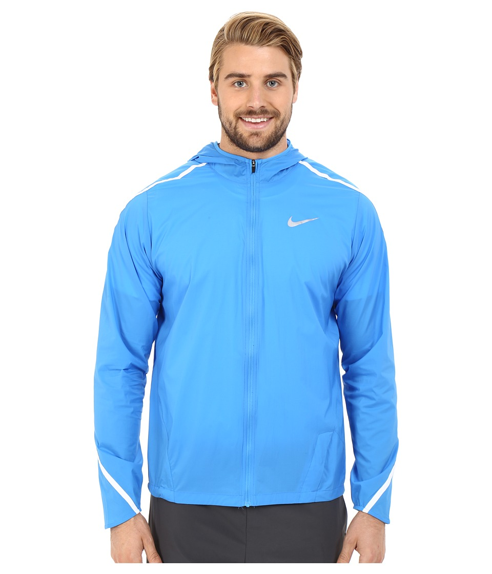 Nike - Impossibly Light Hooded Jacket (Light Photo Blue/White/Reflective Silver) Men's Coat