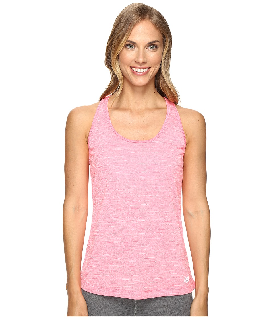 New Balance - Fashion Tank Top (Heathered Pink Zing) Women's Sleeveless