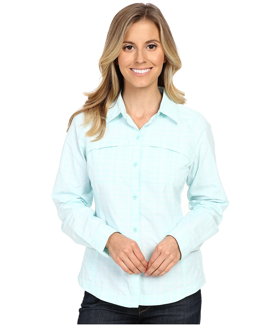 Columbia - Silver Ridge Plaid L/S (Ocean Water Plainweave Plaid) Women's Long Sleeve Button Up