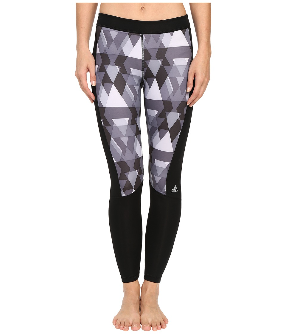 adidas - Techfit Long Tights - Boost Print (Black Print/Matte Silver) Women's Workout