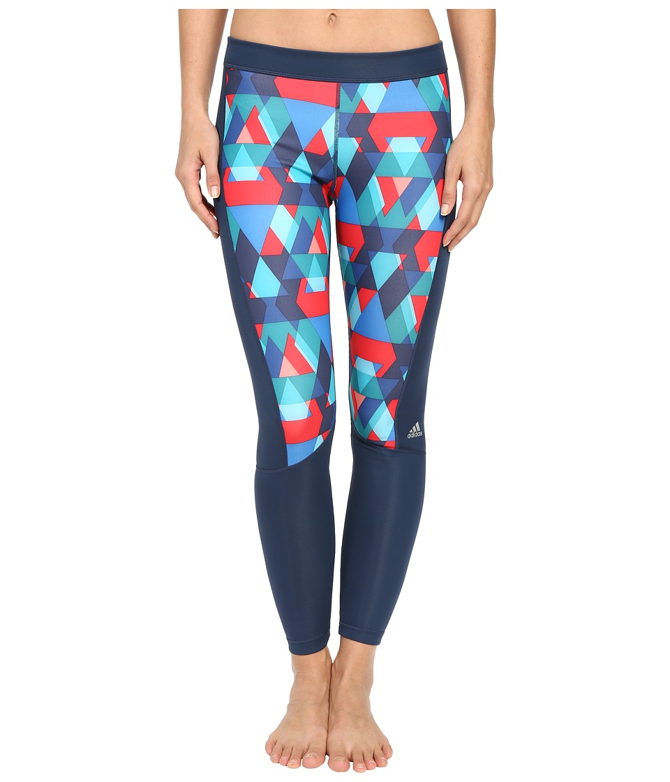 adidas - Techfit Long Tights - Boost Print (Multicolor Print/Matte Silver) Women's Workout