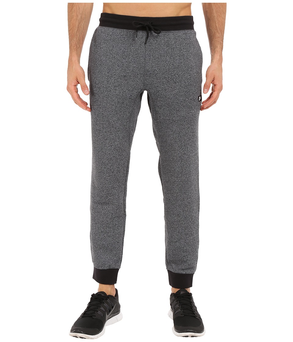 Nike - AW77 Shoebox Cuffed Sweatpant (Black/White/Heather) Men's Casual Pants
