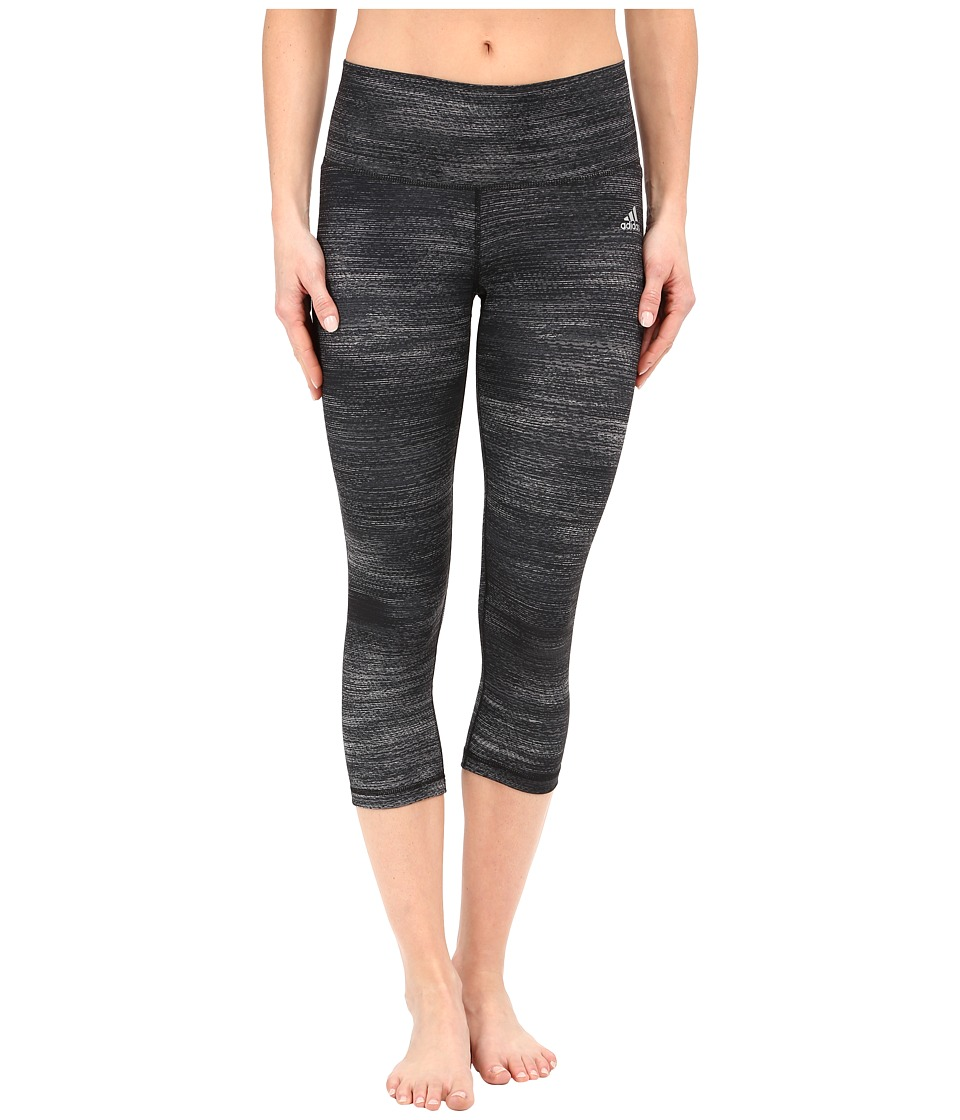 adidas - Performer Mid Rise 3/4 Tights - Macro Heather Print (Dark Grey Heather/Matte Silver) Women's Workout