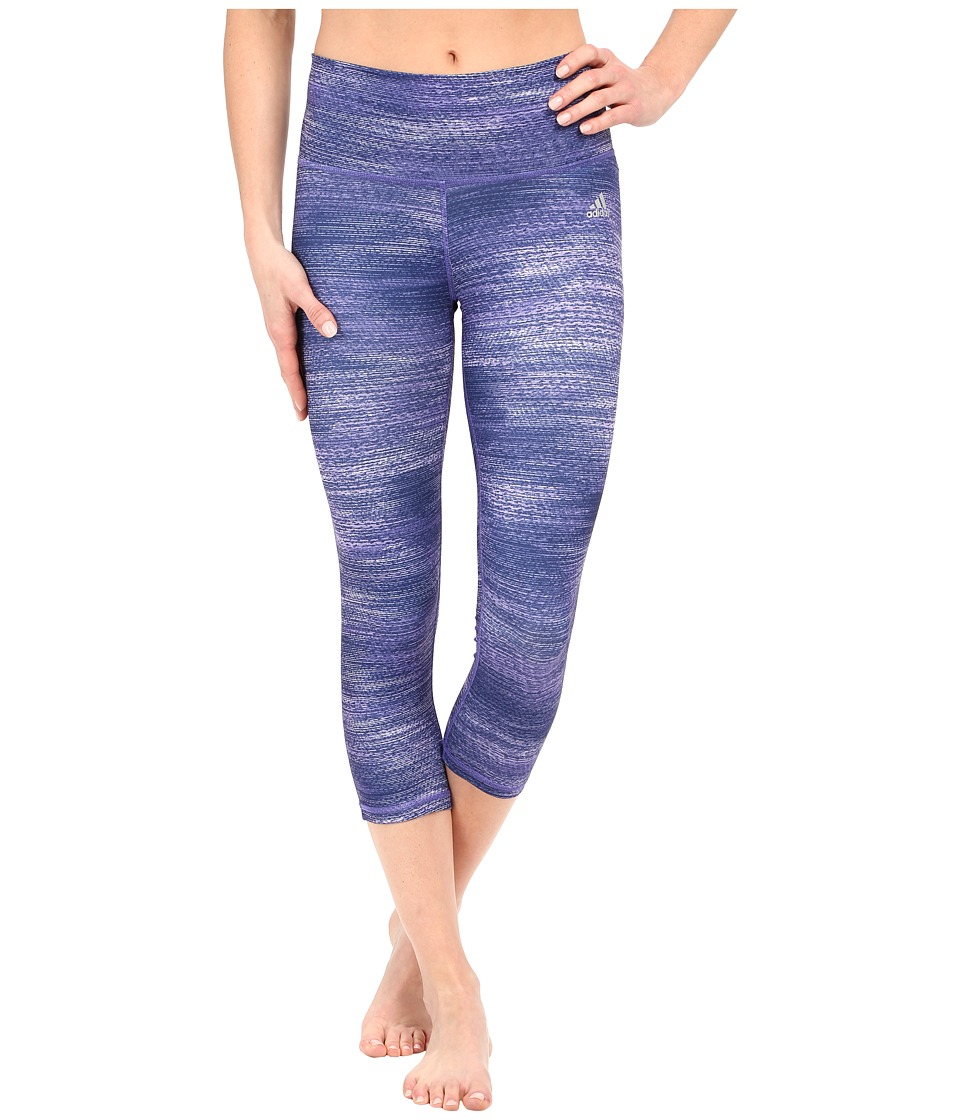 adidas - Performer Mid Rise 3/4 Tights - Macro Heather Print (Purple Heather/Matte Silver) Women's Workout