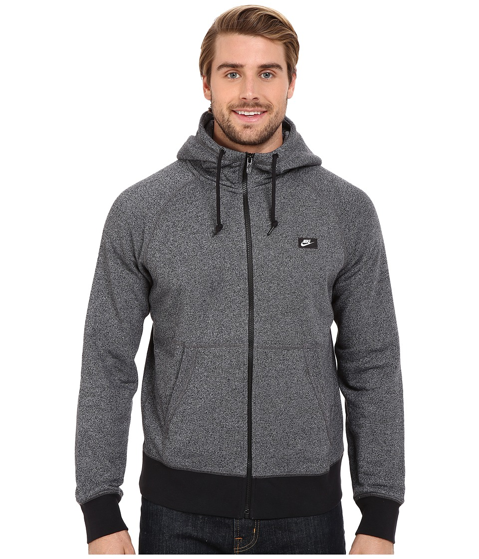 Nike - AW77 Shoebox Full-Zip Hoodie (Black/White/Heather) Men's Sweatshirt