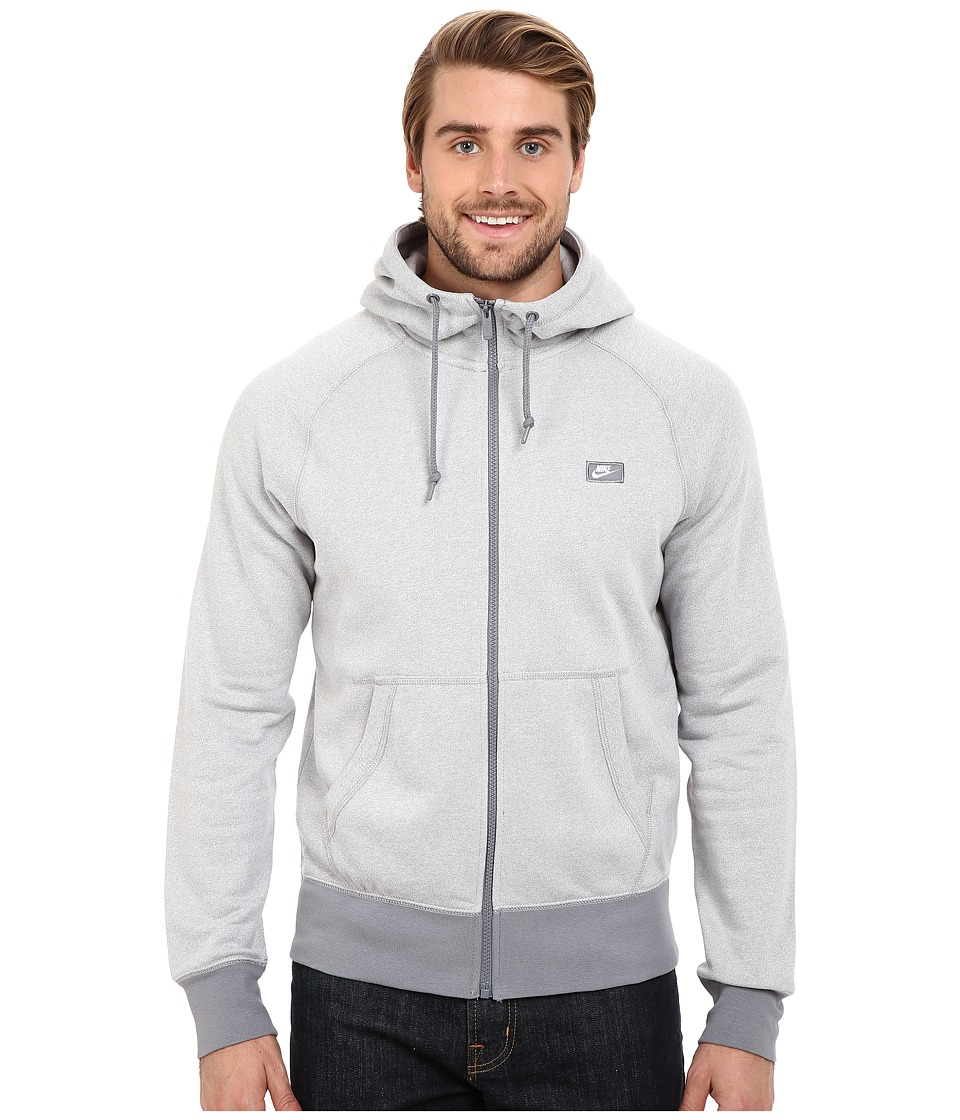 Nike - AW77 Shoebox Full-Zip Hoodie (White/Cool Grey/Heather) Men's Sweatshirt