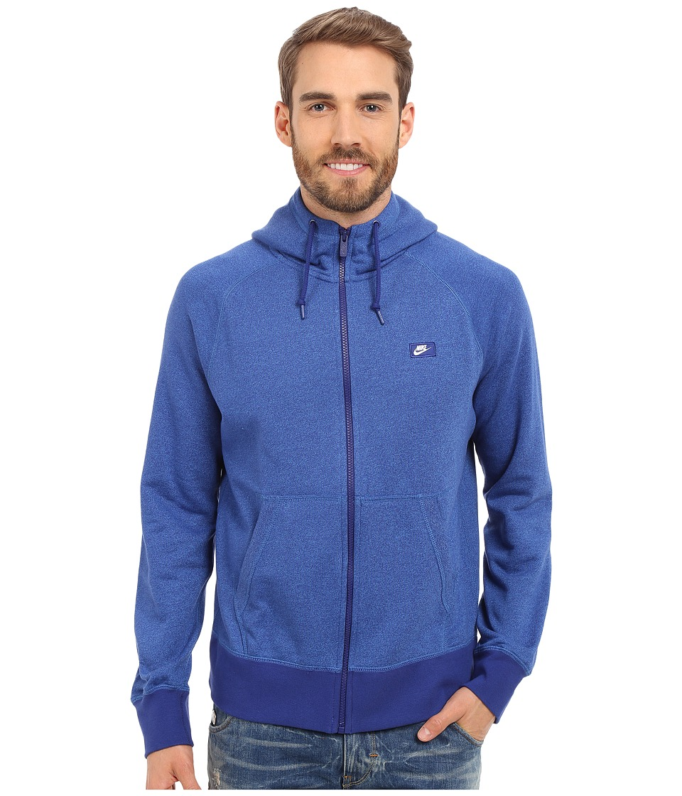 Nike - AW77 Shoebox Full-Zip Hoodie (Deep Royal Blue/Light Photo Blue/Heather) Men's Sweatshirt