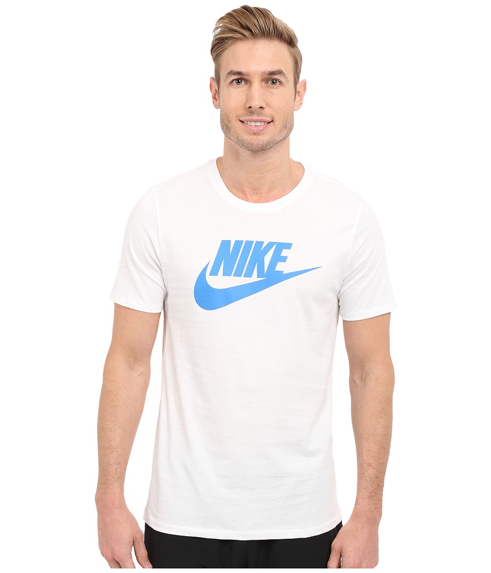 Nike - Futura Icon Tee (White/White/Photo Blue) Men's Short Sleeve Pullover