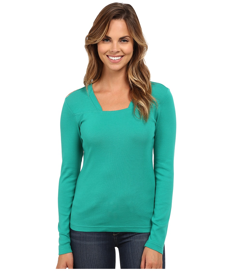 Royal Robbins - Kick Back Modern L/S Crew (Emerald) Women's Long Sleeve Pullover