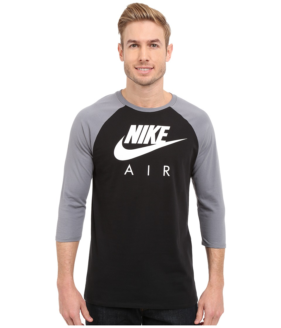 Nike - Air 3/4 Raglan Tee (Black/Cool Grey/White) Men's T Shirt
