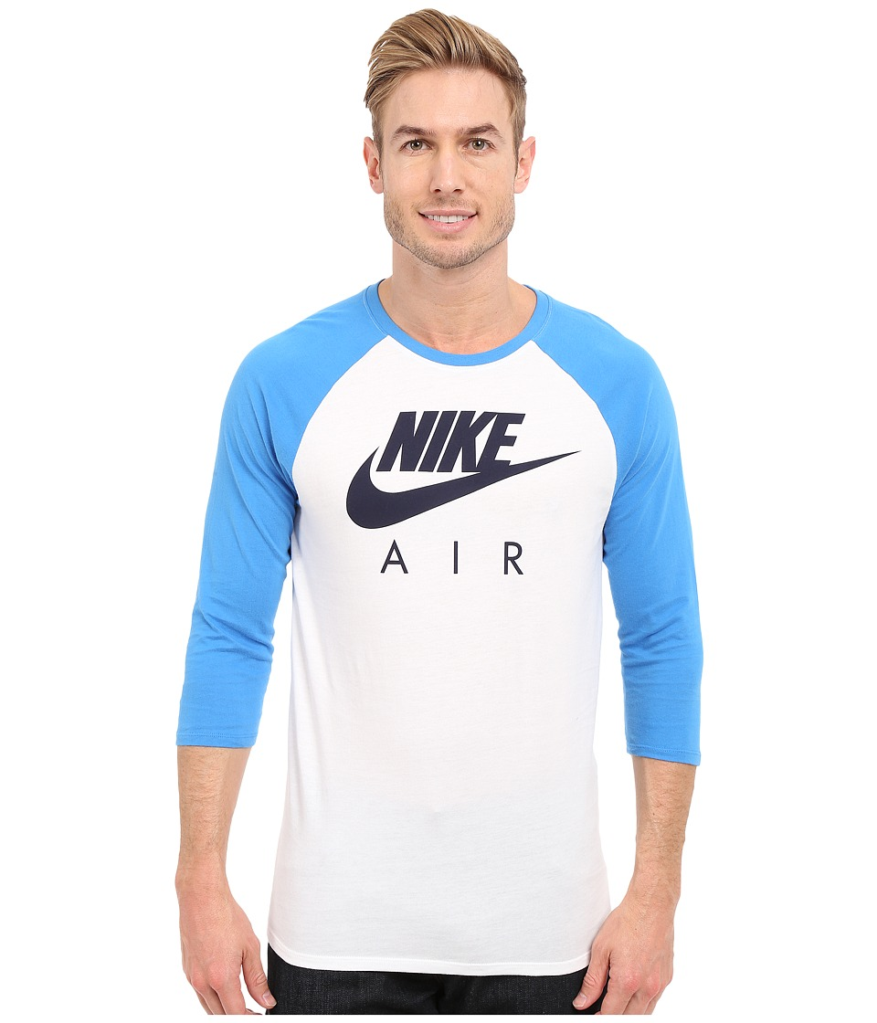 Nike - Air 3/4 Raglan Tee (White/Light Photo Blue/Obsidian) Men's T Shirt
