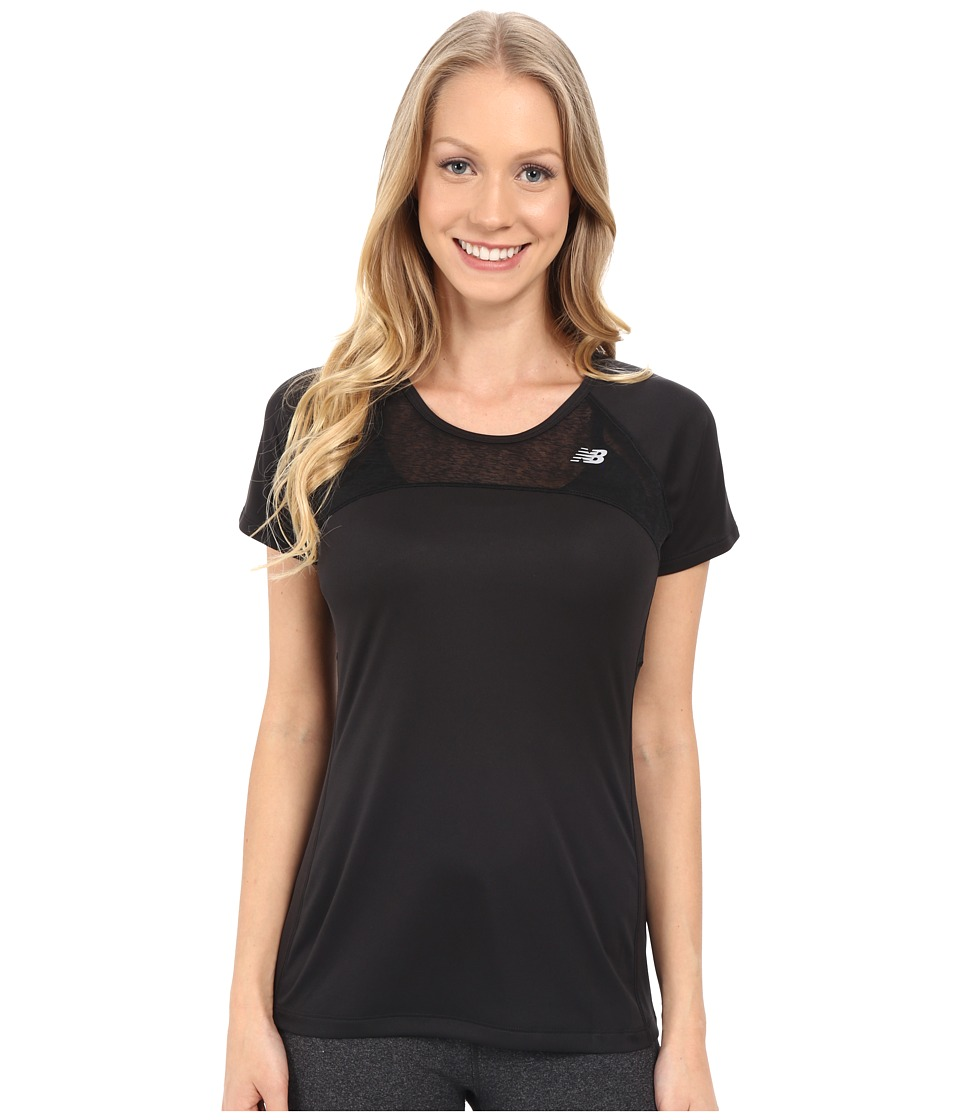New Balance - Run Short Sleeve Top (Black) Women's Clothing