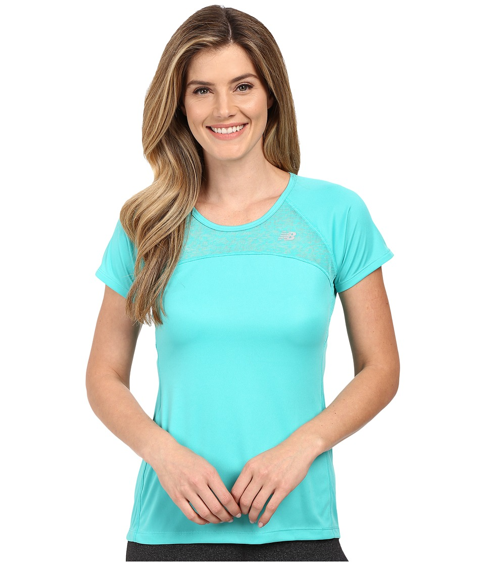 New Balance - Run Short Sleeve Top (Tide Pool) Women's Clothing