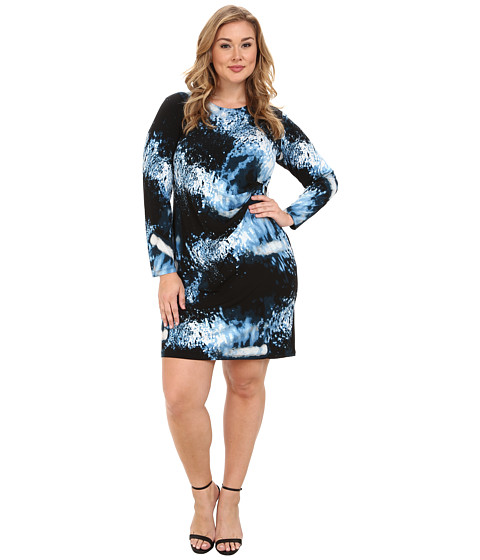 Calvin Klein Plus - Plus Size Wrap Dress w/ Square Hardware (Black/Silver Lake) Women's Dress