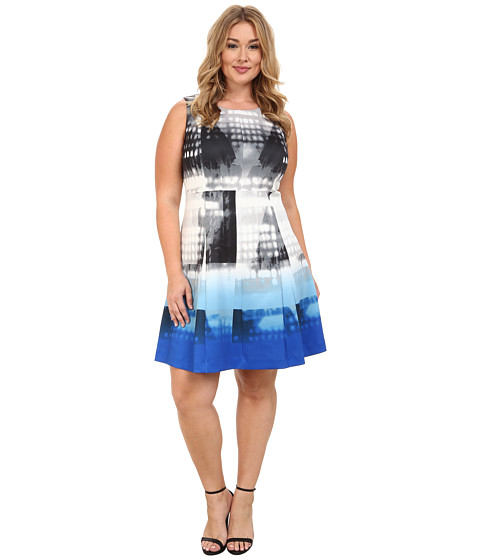 Calvin Klein Plus - Plus Size Printed Flare Dress (Celestial Multi) Women's Dress
