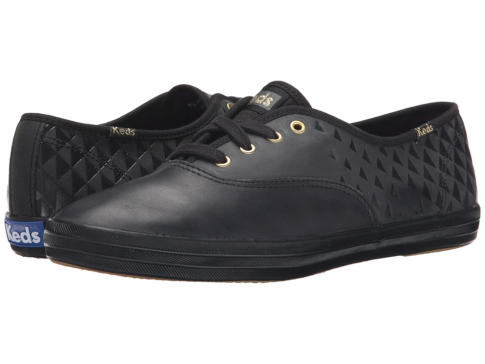 Keds - Champion Embossed Leather (Black) Women's Shoes