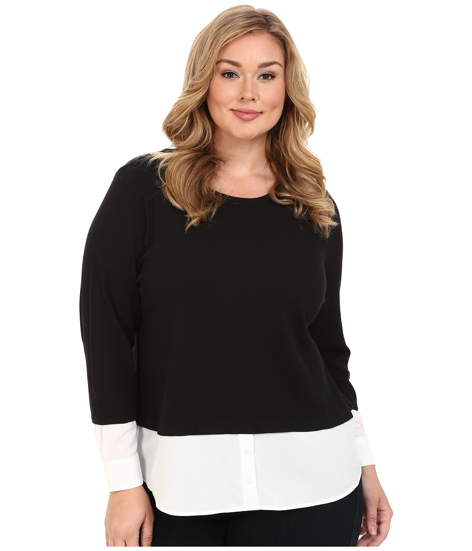 Calvin Klein Plus - Plus Size Thermal Top w/ Shirting (Black) Women's Sweater