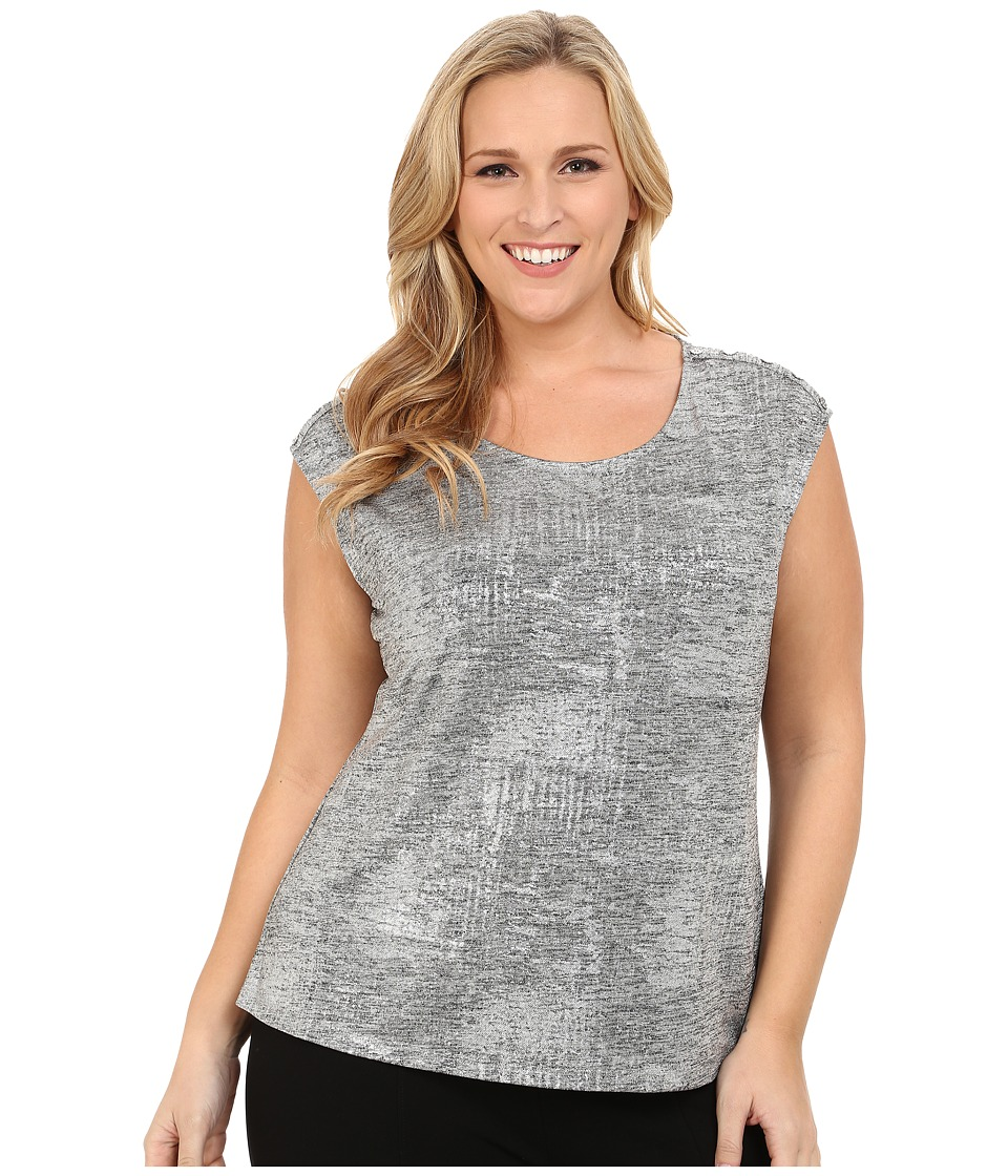 Calvin Klein Plus - Plus Size Metallic Top w/ Shoulder Buttons (Metallic Silver) Women