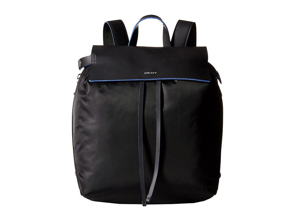 DKNY - Nylon w/ Rub Drawstring Backpack (Black/Blue) Backpack Bags