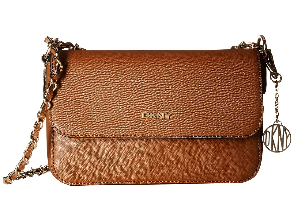DKNY - Bryant Park - Saffia Small Flap Crossbody w/ Adjustable Chain Handle (Luggage) Cross Body Handbags