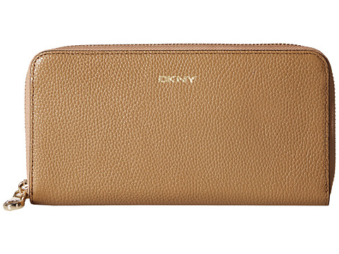 DKNY - Chelsea - Vintage Leather Large Zip Around (Camel) Handbags