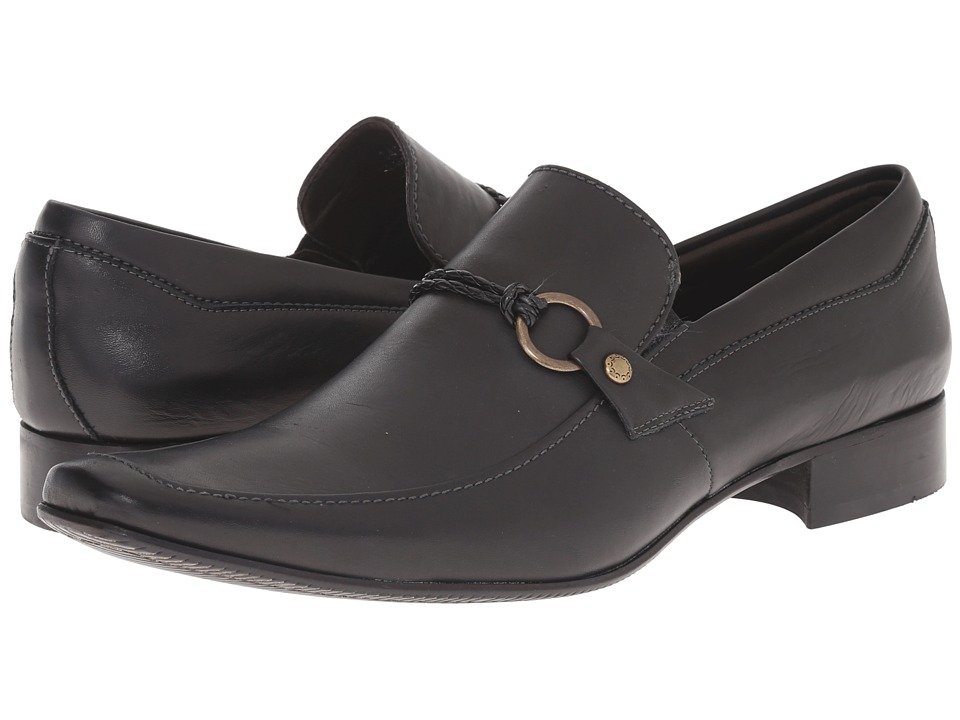 Massimo Matteo - Mocc with Woven Lace (Black) Men's Slip-on Dress Shoes