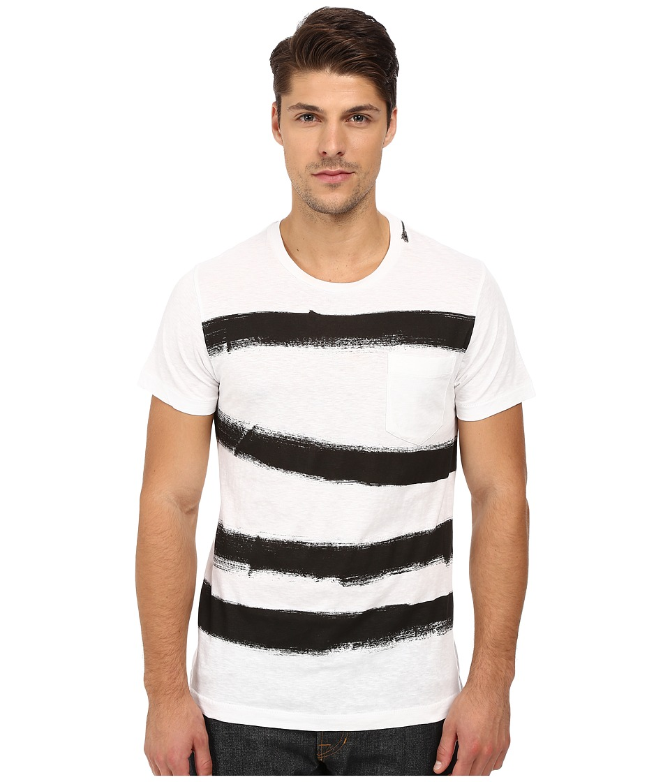 French Connection Anarchy Stripe Tee (Optic White/Black) Men