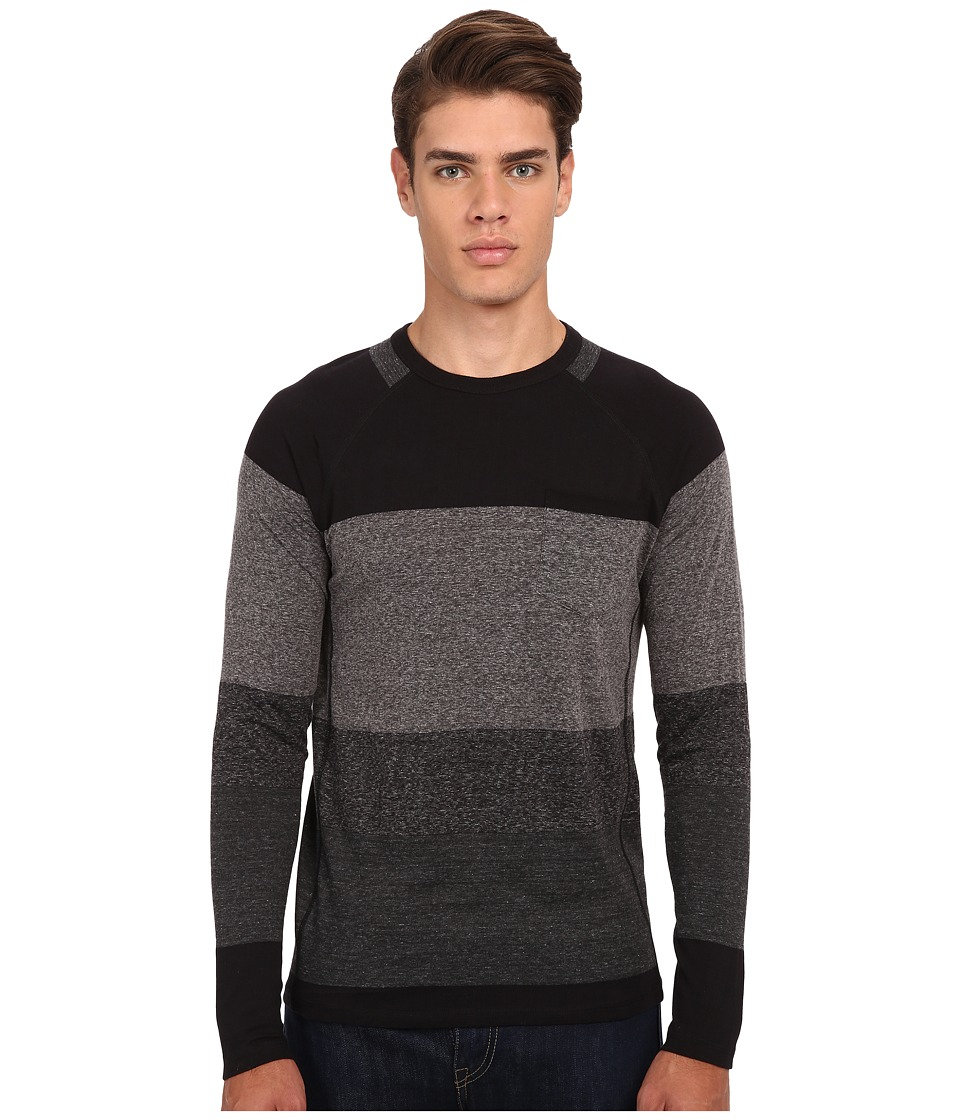 French Connection - Garage Stripe Pocket Knit (Charcoal Melange) Men's Sweater