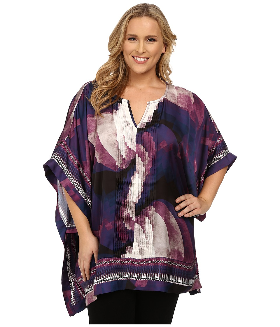 Mynt 1792 - Plus Size Border Printed Blouse (Circular Ombre) Women