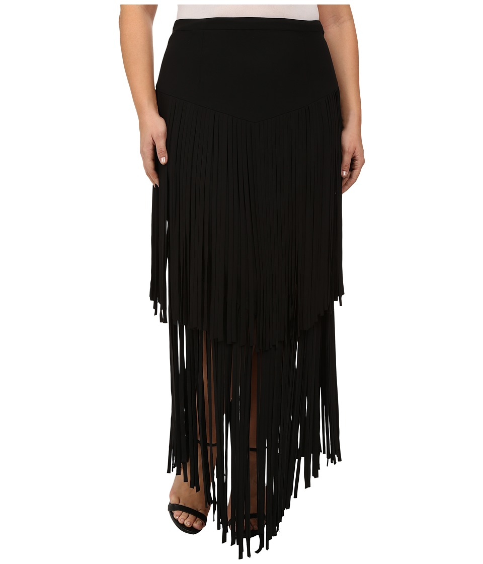 Mynt 1792 - Plus Size Fringe Skirt (Black) Women's Skirt