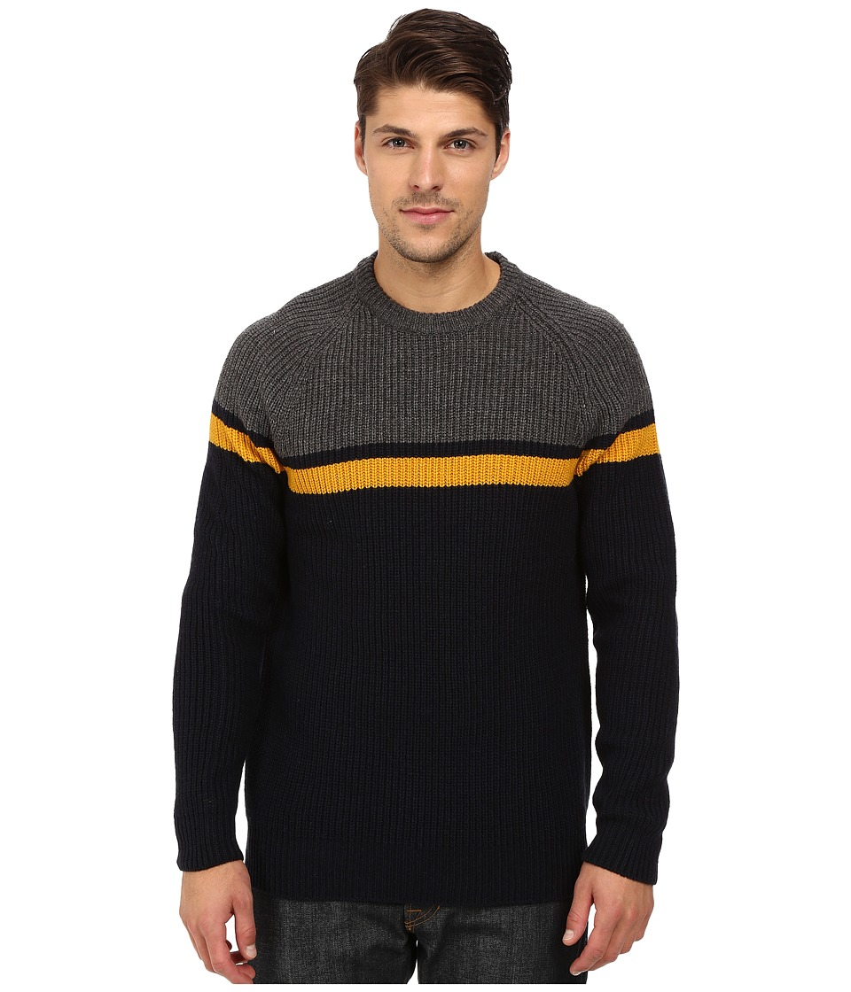 French Connection - Rod Stripe Knits Sweater (Charcoal Melange/Golden Yellow) Men
