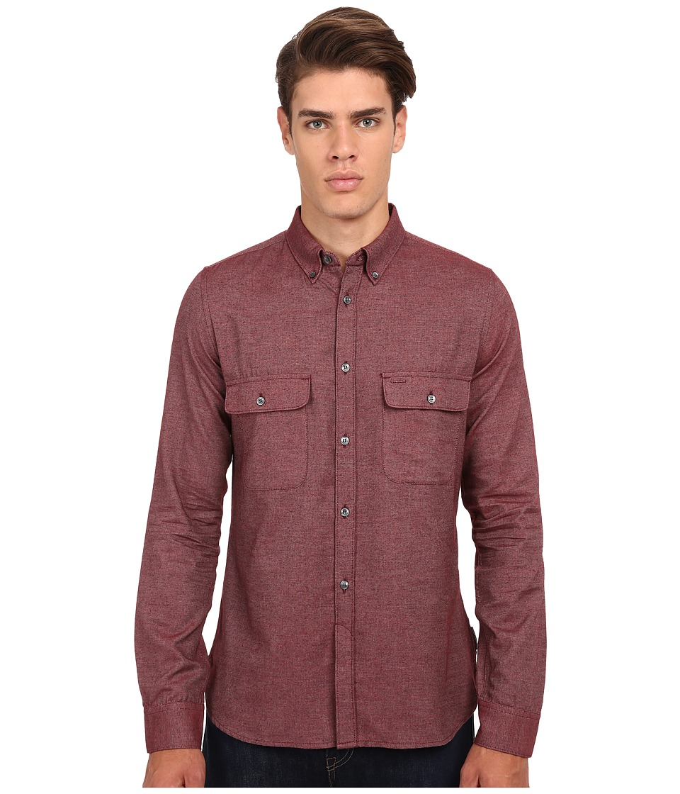 French Connection - Underground Velvet Woven (Bordeaux Melange) Men's Clothing