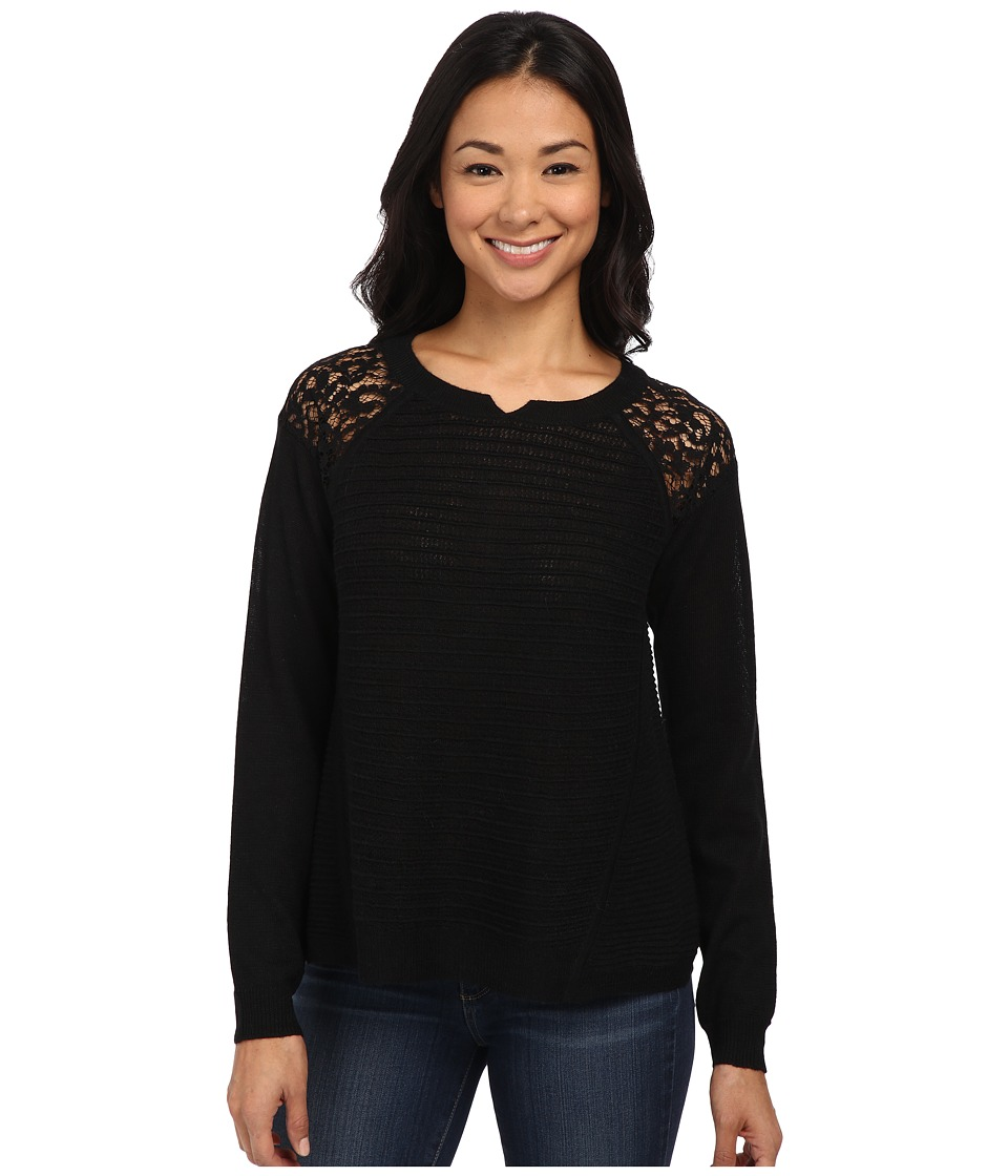 Rebecca Taylor - Patchwork Lace Top (Black) Women's Clothing