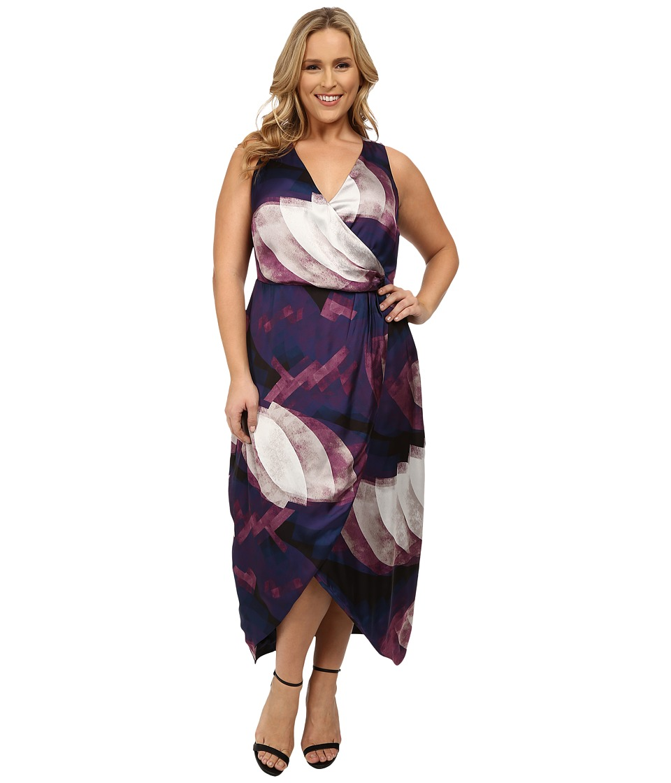 Mynt 1792 - Plus Size Printed Wrap Dress (Circular Ombre) Women's Dress