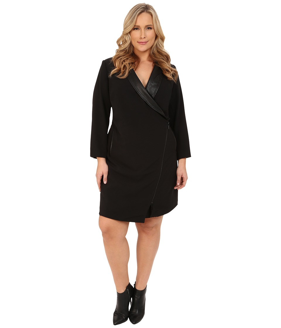 Mynt 1792 - Plus Size Tuxedo Wrap Dress (Black) Women's Dress