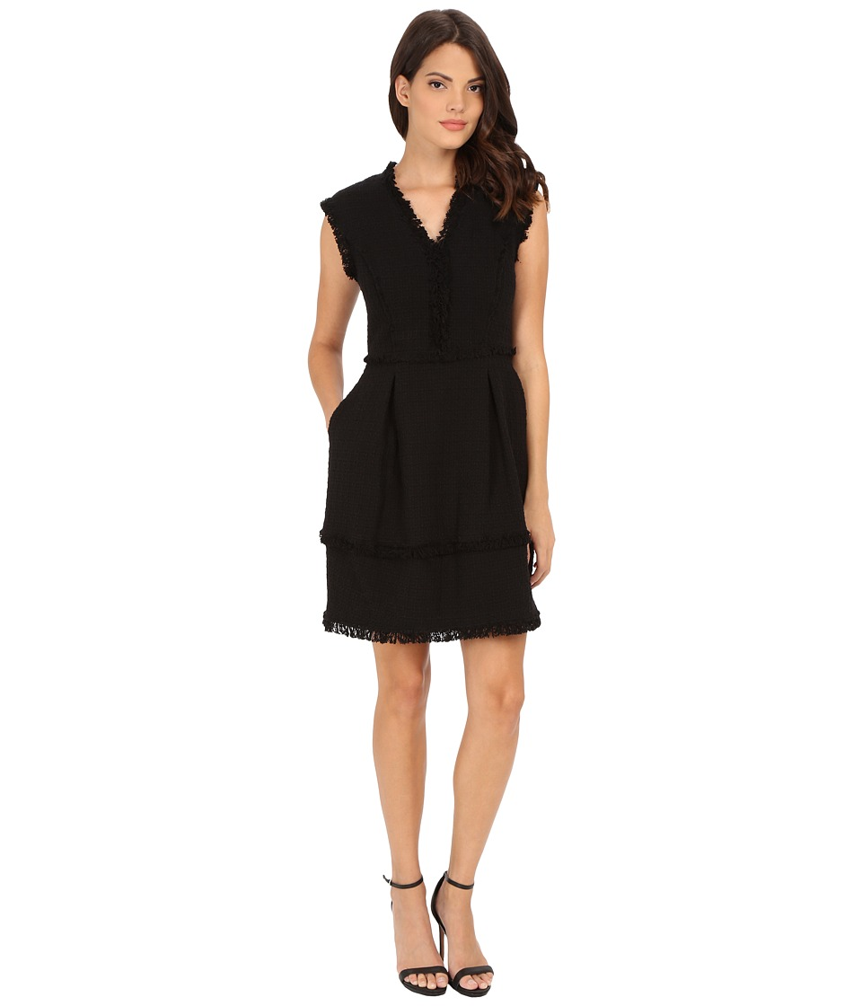 Rebecca Taylor - Classic V-Neck Tweed Dress (Black) Women's Dress