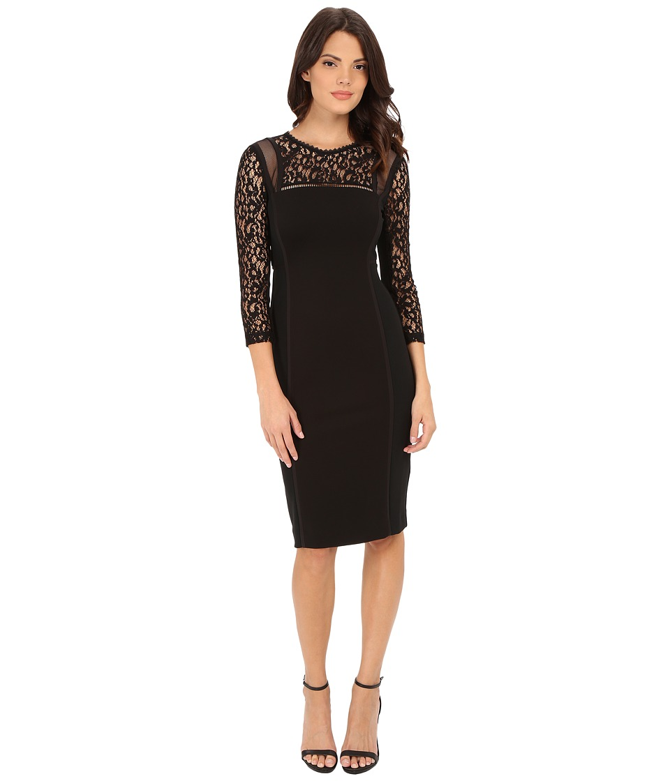 Rebecca Taylor - Lace Mix Dress (Black) Women's Dress