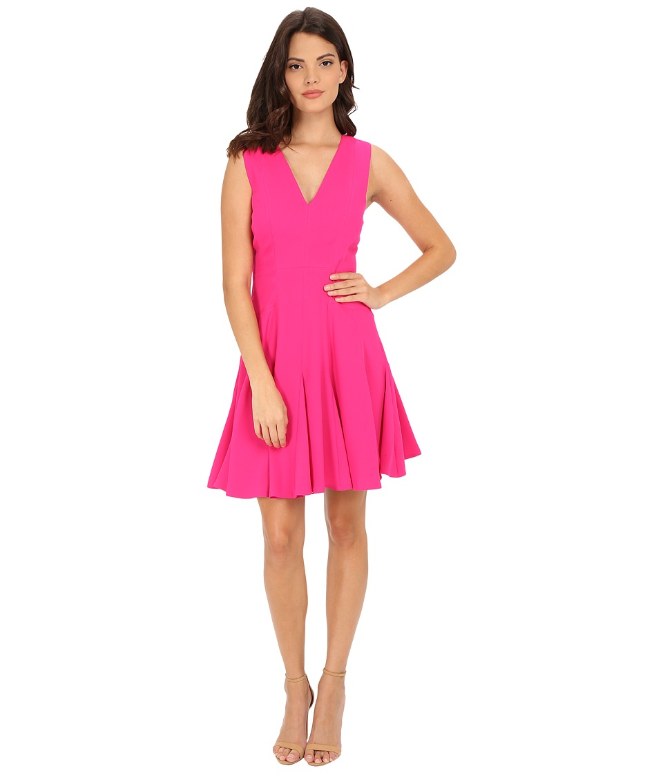 Rebecca Taylor - Satin Back Crepe V-Neck Dress (Orchid Pink) Women's Dress