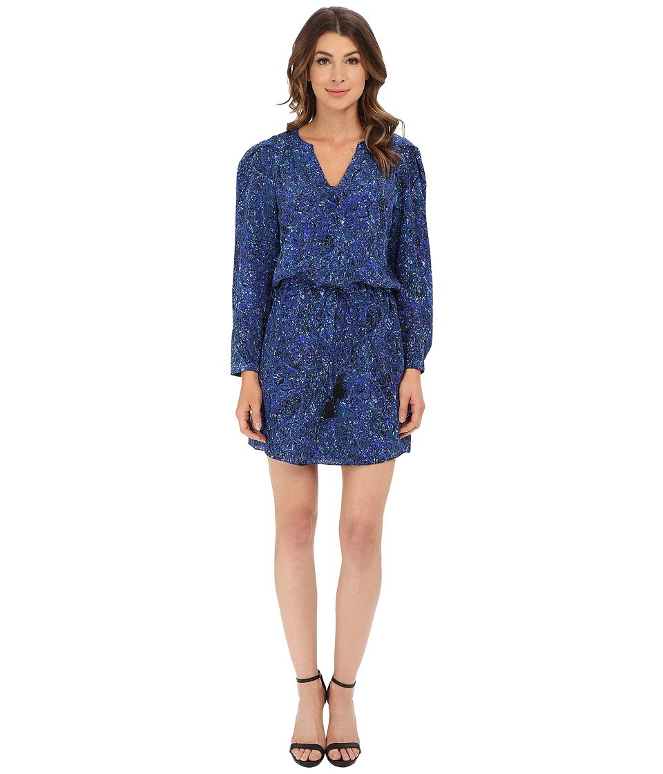 Rebecca Taylor - Long Sleeve Block Print Paisley Dress (Rainstorm) Women's Dress