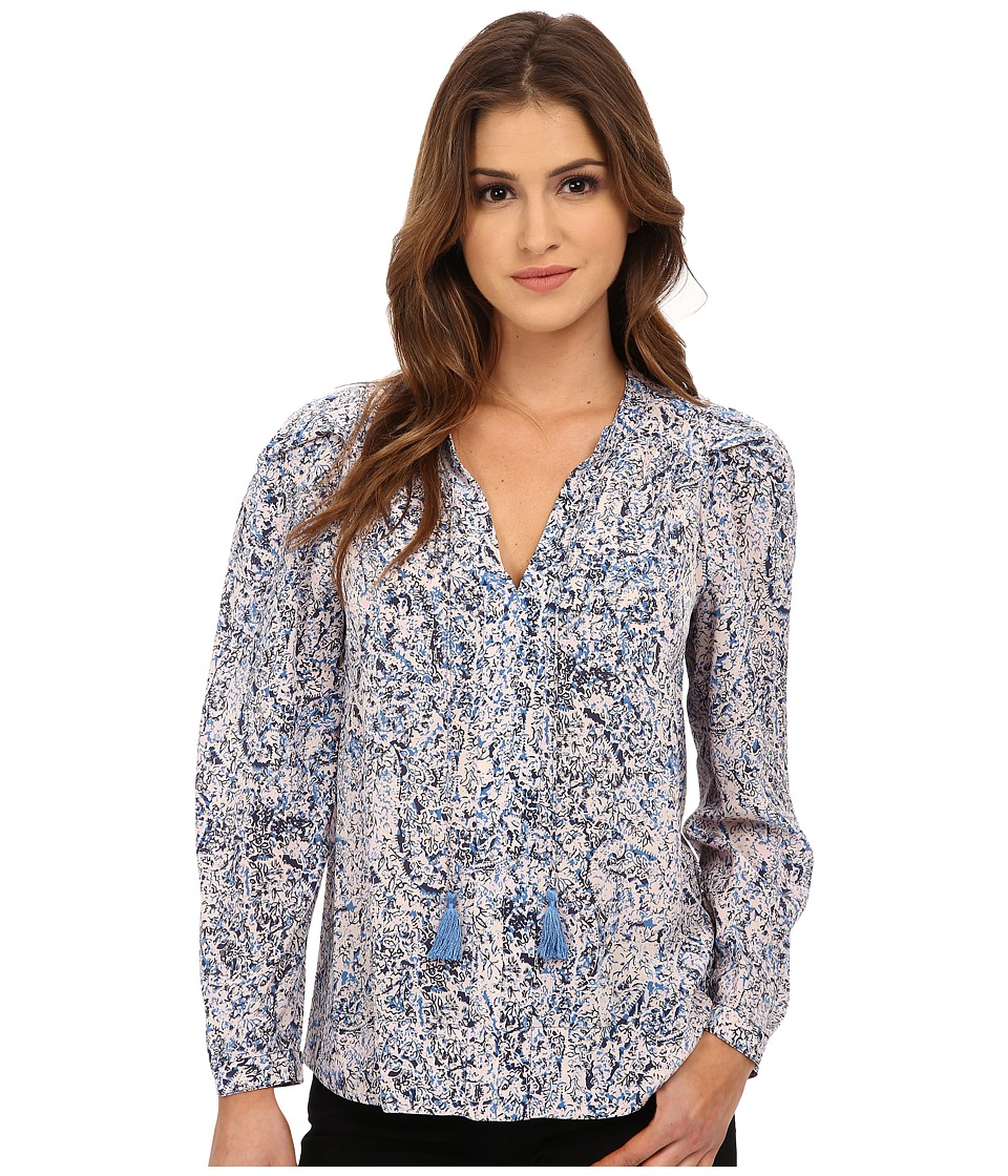 Rebecca Taylor - Long Sleeve Block Print Paisley Top (Blue/Pink) Women's Blouse