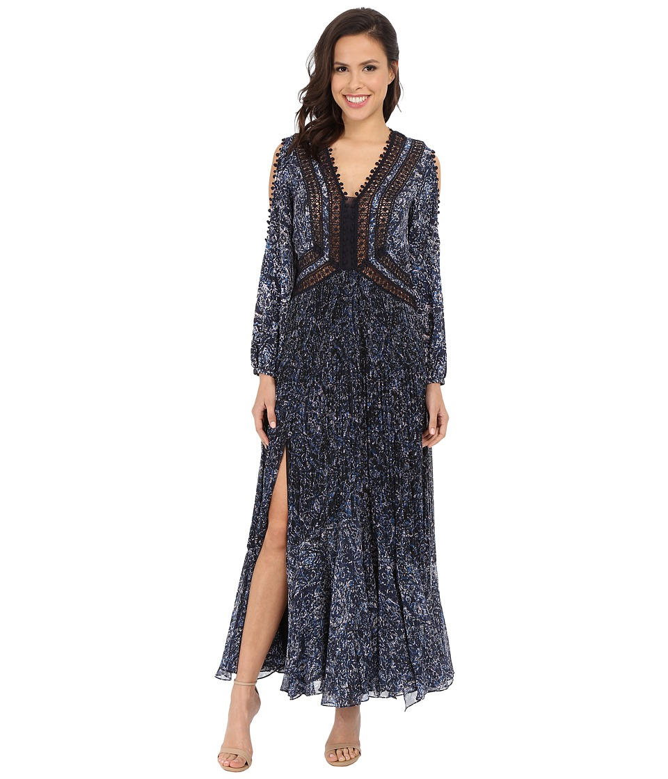 Rebecca Taylor - Block Print Paisley Maxi Dress (Blue/Black) Women's Dress
