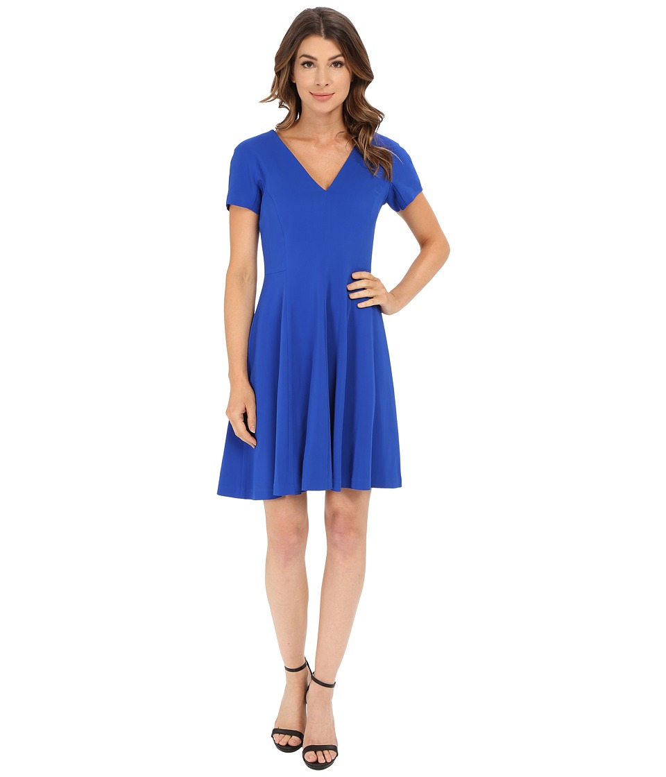 Rebecca Taylor - Short Sleeve Refined Suiting V-Neck Dress (Cobalt) Women's Dress
